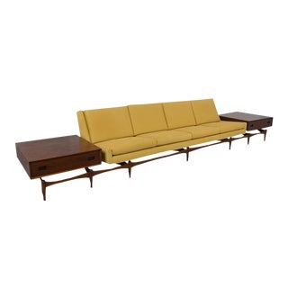 Danish Executive Modern Sofa With Side Tables For Sale