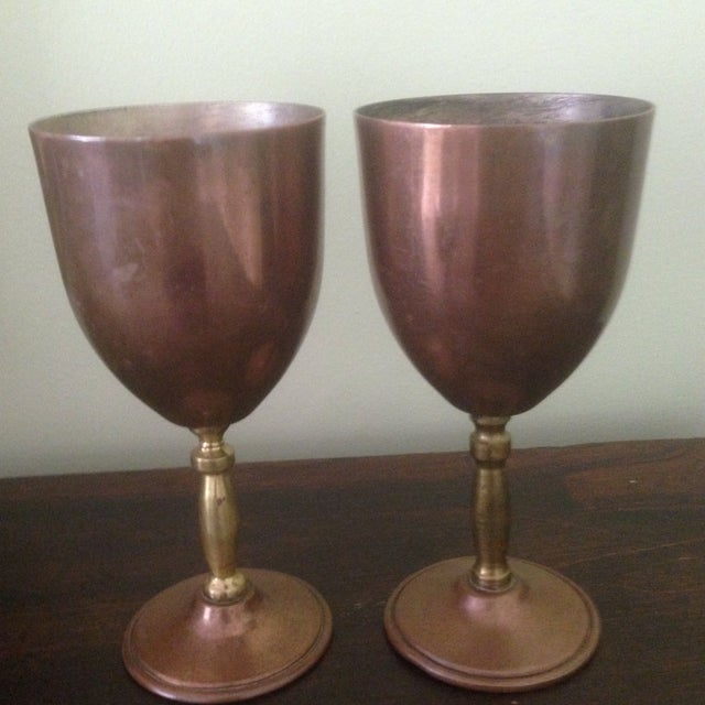 Copper & Brass Goblets - a Pair - Image 9 of 11