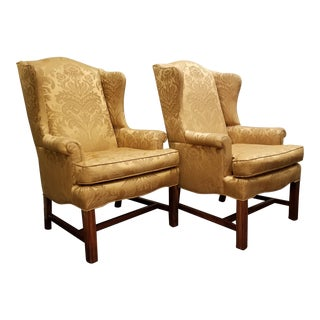 Chippendale Style Golden Silk Wingback Chairs - a Pair