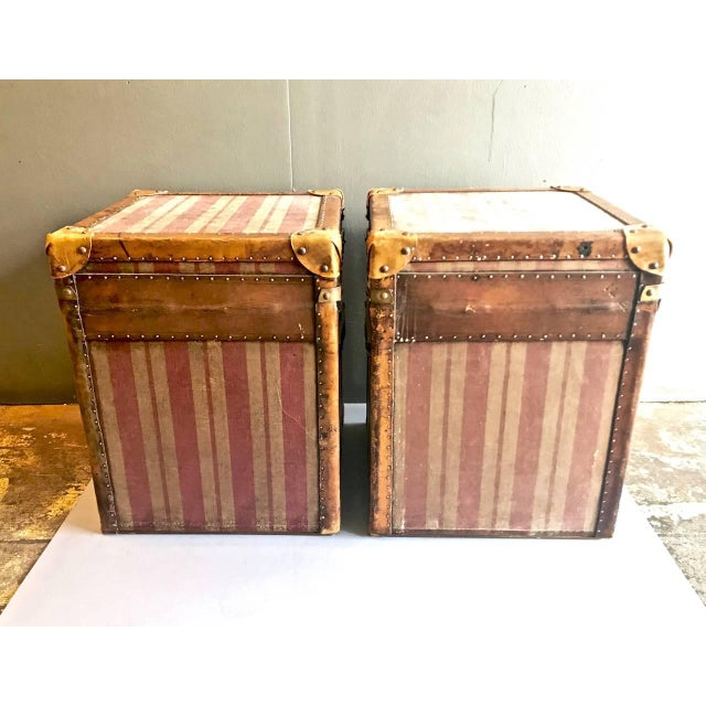 Pair of French Canvas and Leather Hat Trunks, Late 19th Century For Sale In Los Angeles - Image 6 of 10
