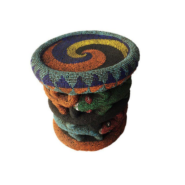 """Beaded Wood Bamileke Leopard Stool /Table Cameroon 8.5'""""h For Sale - Image 13 of 13"""