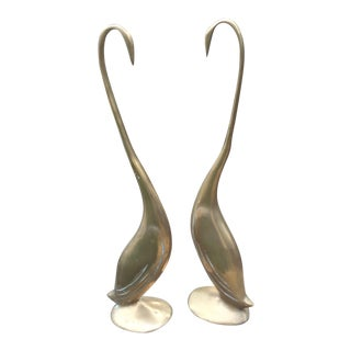 Brass Mid-Century Modern Art Deco Tall Swans - A Pair