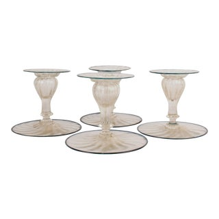 Mid-Century Venetian Italian Glass Candlesticks - Set of 4 For Sale