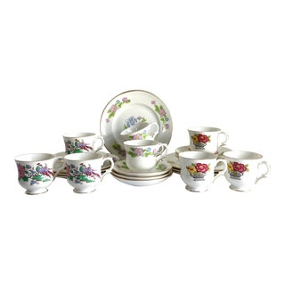 Vintage Staffordshire Bone China Luncheon Set - 24 Piece Set For Sale