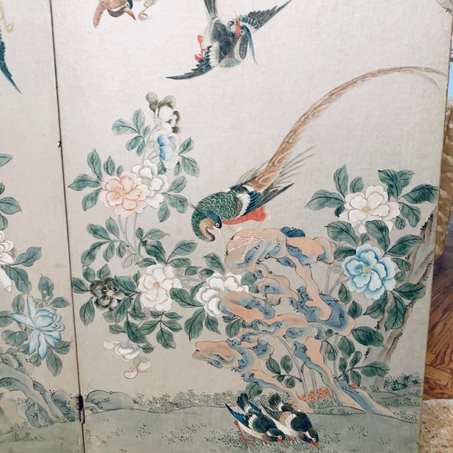 Silver Leaf Chinoiserie Room Divider For Sale - Image 4 of 6