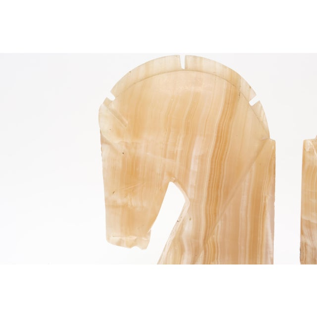 Oversize Large Vintage Marble Horse Head Bookends - A Pair For Sale - Image 4 of 8