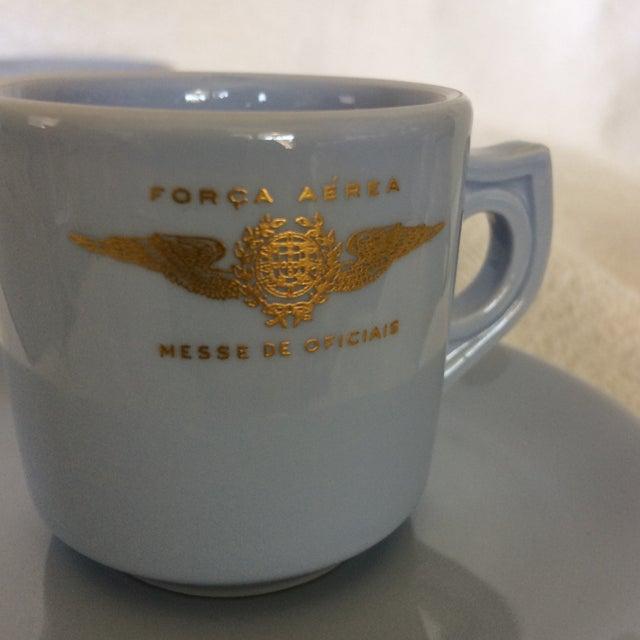 "Very Rare Vintage Set of Vista Alegre Impact Baby Blue Portuguese ""Forca Aerea Messe De Oficiais"" Demitasse Cups & Saucers -Set of 10 For Sale - Image 10 of 13"