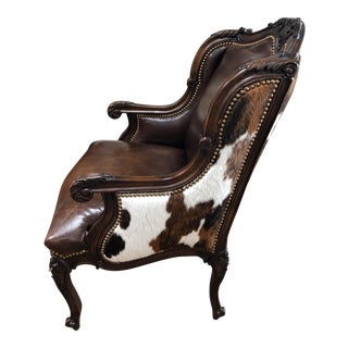 Baker Knapp and Tubbs Brindle Leather and Hide Oakley Wingback Chair For Sale