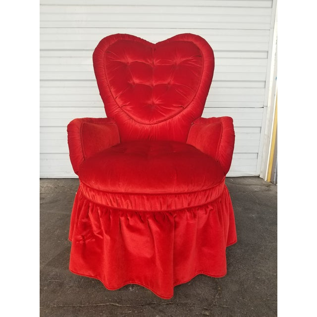 Vintage Heart Shaped Red Boudoir Chair For Sale - Image 5 of 6