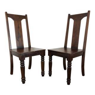 Solid Mango Wood Dining / Kitchen Chairs - Pair 2 For Sale