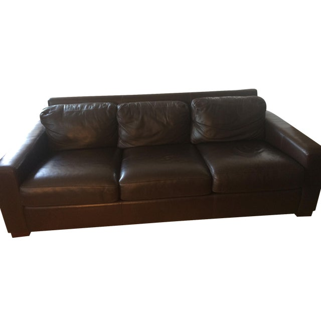 "Design Within Reach 84"" Portola Leather Sofa For Sale"