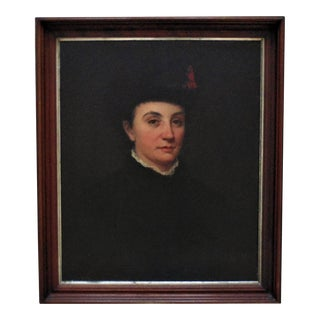 19th C. Portrait Painting of Victorian Woman Lady Oil on Board Antique For Sale