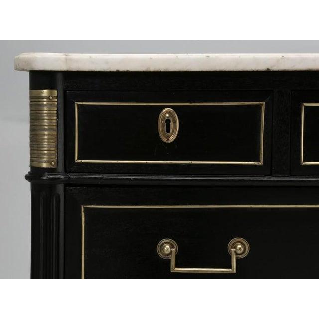 Black French Louis XVI Ebonized Finish Commode For Sale - Image 8 of 11