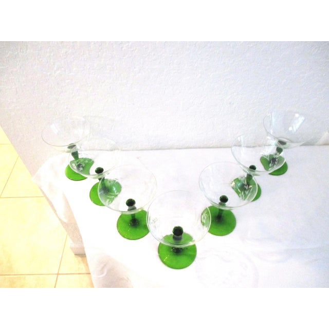 Traditional 1940s Victorian Emerald Green Floral Etched Wine Glasses - Set of 7 For Sale - Image 3 of 4