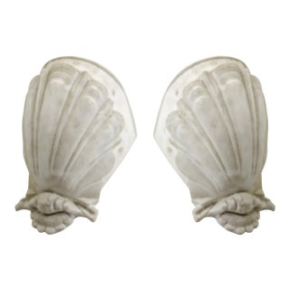 French Riviera Pair of Plaster Sconces For Sale