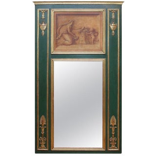 Vintage Neoclassical Gilt and Painted Trumeau Mirror For Sale