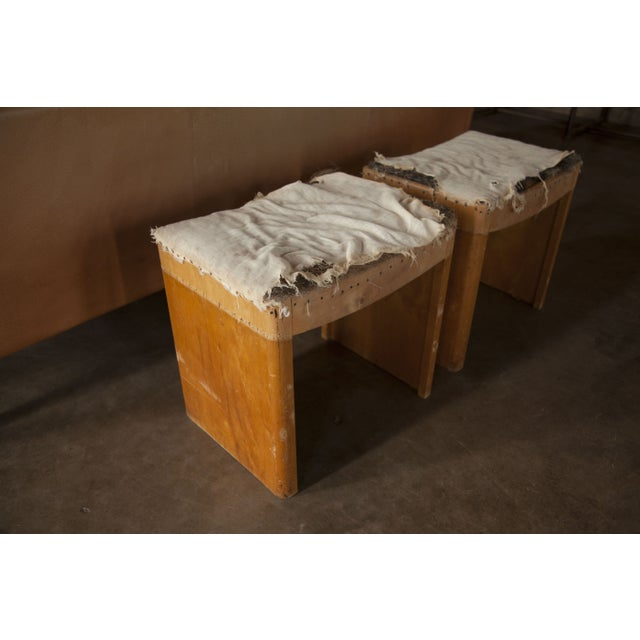 Industrial Distressed Vintage Wooden Stools - A Pair For Sale - Image 3 of 5