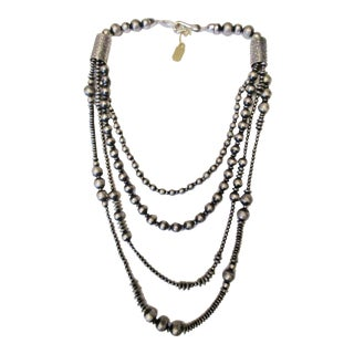 Four Stand Sterling Silver Beaded Necklace For Sale