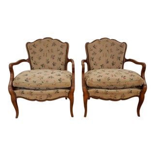 Early 20th Century French Fauteuil Arm Chairs- a Pair For Sale