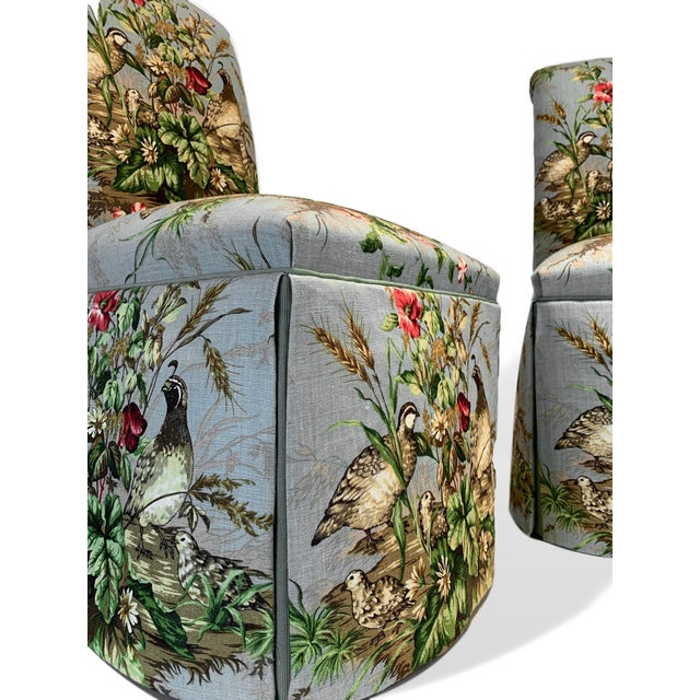 "Silk Scalamandré Fabric ""Edwin's Covey"" Parsons Chairs- A Pair For Sale - Image 7 of 11"