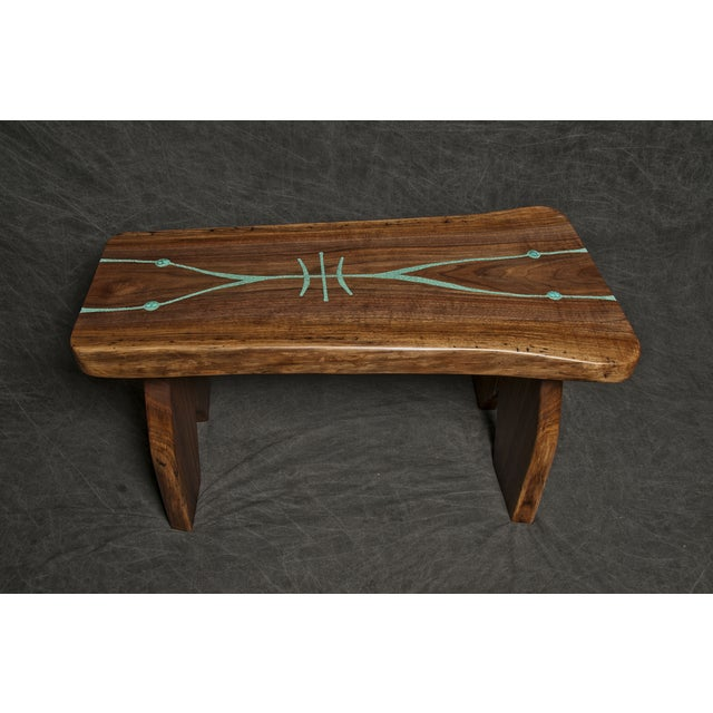 Black Walnut Live Edge Turquoise Inlay Slab Bench - Image 4 of 6