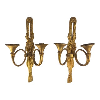 Gilt Bronze Antique Wall Sconces - A Pair