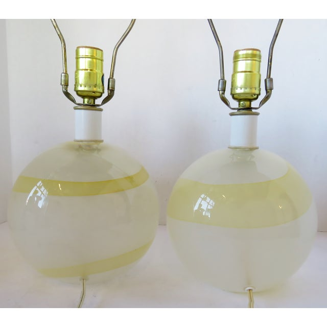 Italian Glass Globe Lamps - a Pair For Sale - Image 4 of 6
