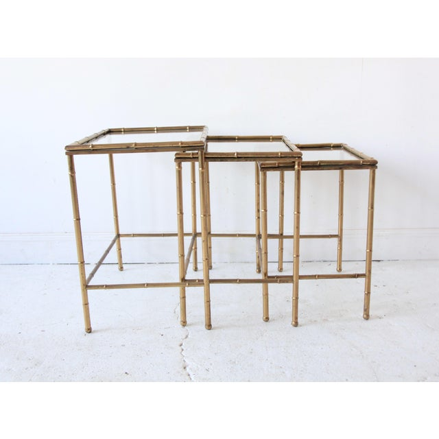 Vintage Brass Faux Bamboo Nesting Tables - Set of 3 For Sale - Image 5 of 9