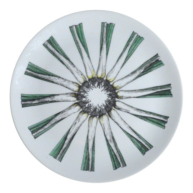 Piero Fornasetti Giri Di Verdure Plate with Leeks. - Image 1 of 2
