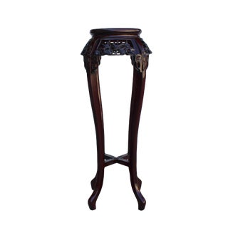 Chinese Red Brown Mahogany Mother of Peal Round Curved Legs Pedestal Stand For Sale