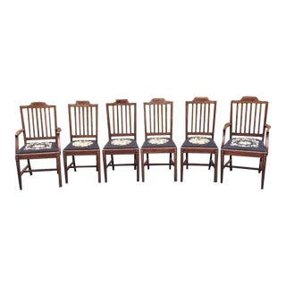 Inlaid Mahogany Hepplewhite Style Dining Chairs - Set of 6 For Sale