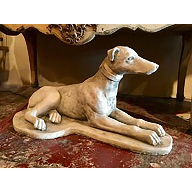 Figurative Vintage European Cement Dog Statue For Sale - Image 3 of 4
