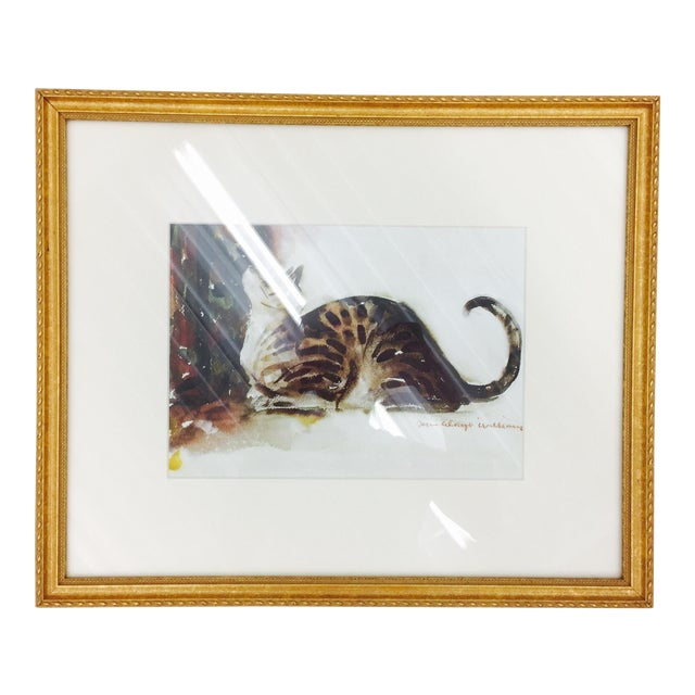 Tabby Cat Watercolor Print in Gold Frame - Image 1 of 7