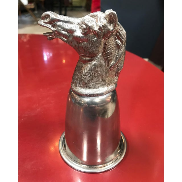 Mid-Century Modern Gucci Vintage Silver Metal Horse Heads Cup, Italy, 1970s For Sale - Image 3 of 10