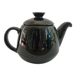 1960s Mid-Century Modern Frankoma Black Onyx Teapot For Sale