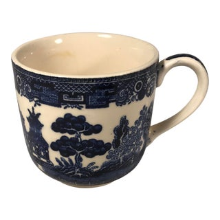 Antique Miniature Blue Willow Pattern Tea Cup Marked England For Sale