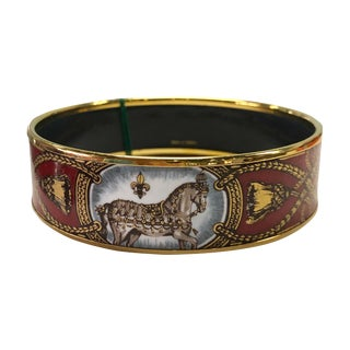 Hermes Enamel Horse Motif Bracelet in Original Box For Sale