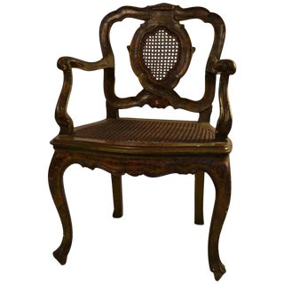 Venetian Carved and Polychrome Armchair For Sale