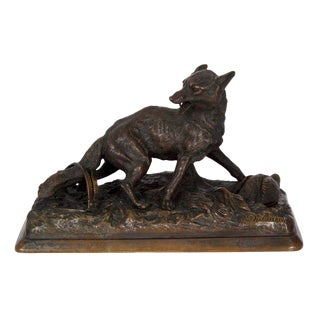 French Antique Bronze Sculpture of a Fox by Alfred Dubucand, 19th Century For Sale
