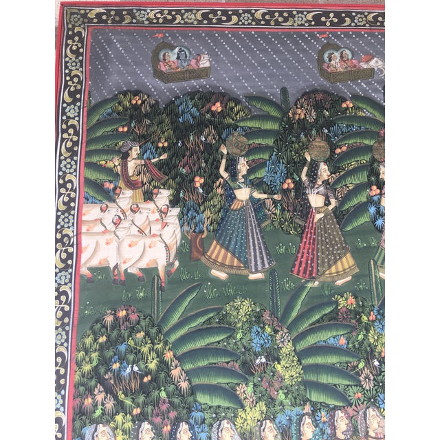 """19th C. East Indian """"Pichwai"""" Painted Textile of Krishna For Sale In New York - Image 6 of 11"""