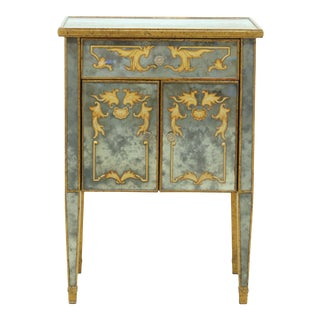 Hollywood Regency Eglomise Mirrored Nightstand For Sale