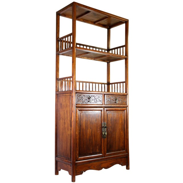 Antique Chinese Solid Wood Fretwork Cabinet & Shelves For Sale
