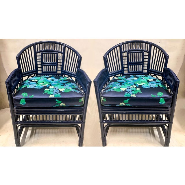 Blue Pair of 1970s Chinese Chippendale Style Bamboo Chairs For Sale - Image 8 of 8