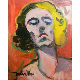 """Jose Trujillo Large 16x20"""" Expressionist Portrait Original Abstract Woman For Sale"""