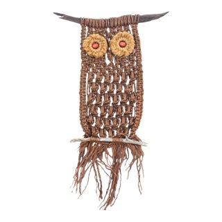Owl and Driftwood Woven Fiber Art