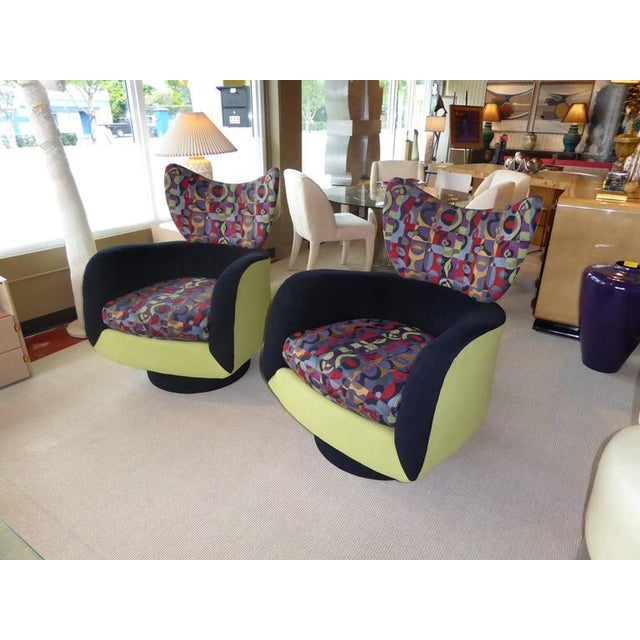 Pair of Vladimir Kagan Lounge Chairs for Directional with Ottoman - Image 6 of 9