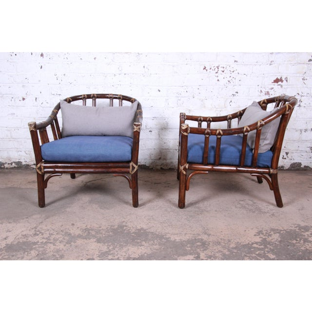 1970s McGuire Hollywood Regency Mid-Century Modern Bent Rattan Lounge Chairs - a Pair For Sale - Image 5 of 13