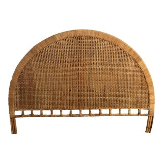 Mid-Century Arched Cane Rattan King Headboard