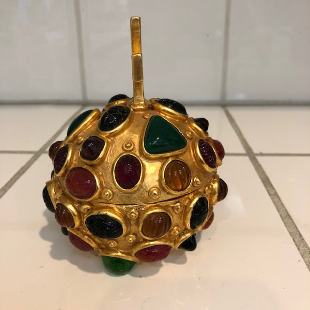 Gothic Gold Orb Box With Cabochon Jewels For Sale - Image 3 of 10