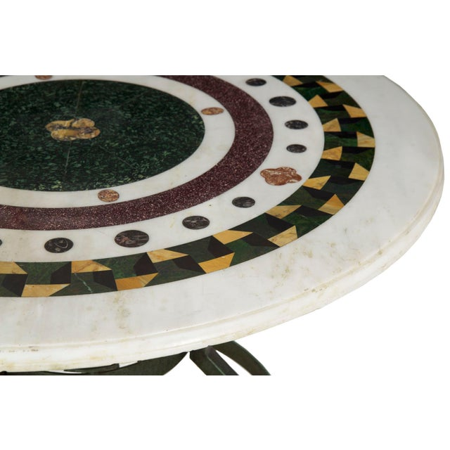 Italian Neoclassical Antique Pietra Dura Center Table W/ Bronze Base For Sale - Image 4 of 11